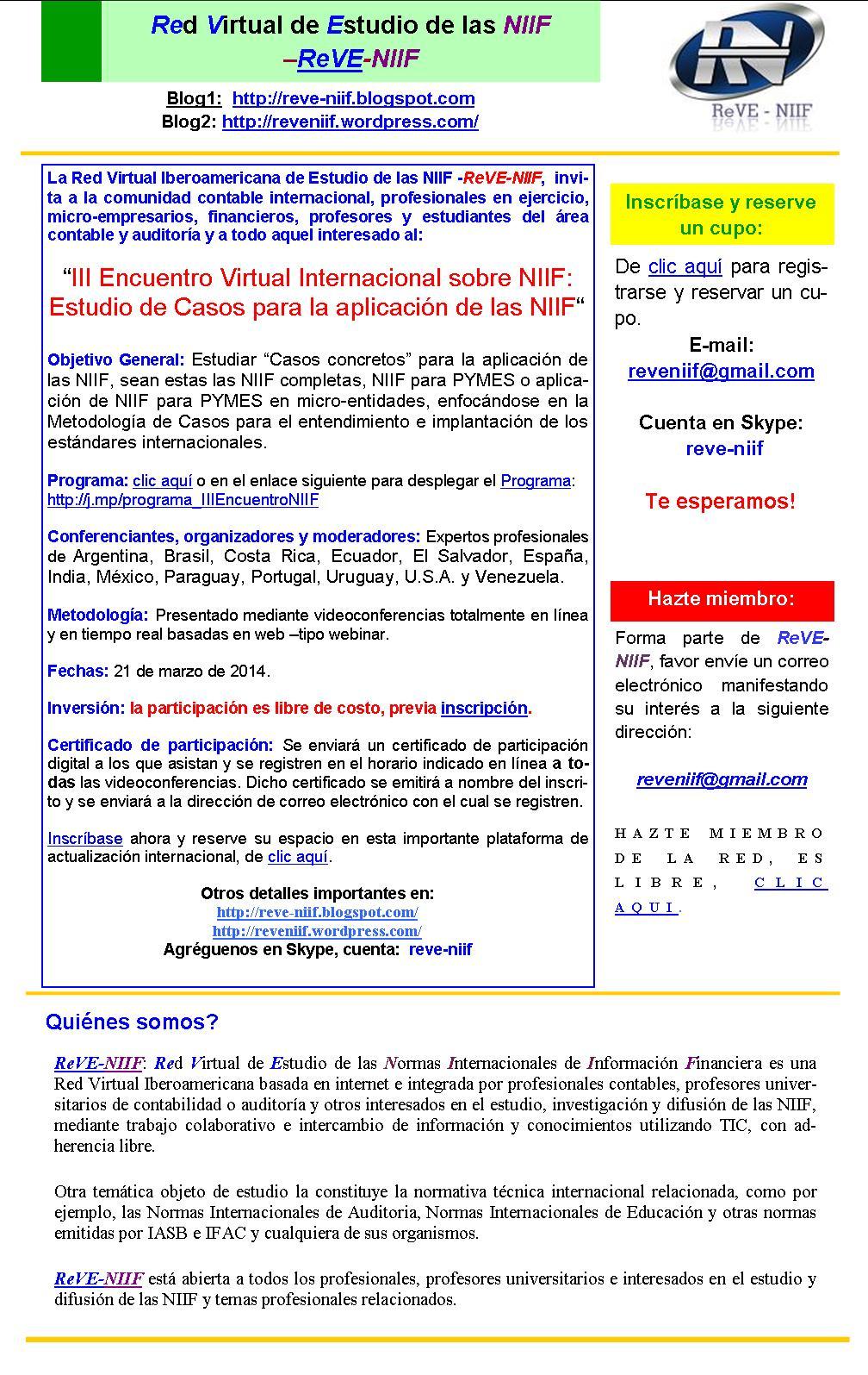 III_EcuentroVirtualInternal sobre NIIF_21Marzo2014